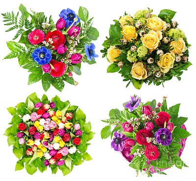 4 Flower Bouquets Print by Boon Mee