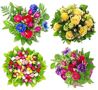4 Flower Bouquets Art Print