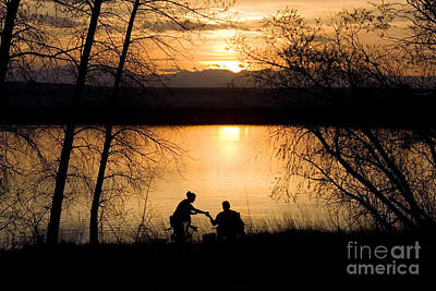 Steven Krull Royalty-Free and Rights-Managed Images - Fly Fishing at Sunset by Steven Krull