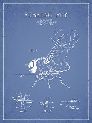 Fishing Fly Patent Drawing From 1968 - Light Blue Art Print