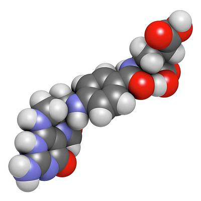 Molecule Photograph - Folinic Acid Drug Molecule by Molekuul