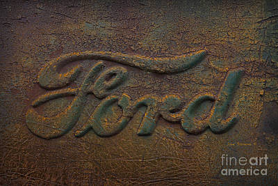 Gold Ford Photograph - Ford Tough Antique Truck Logo by John Stephens