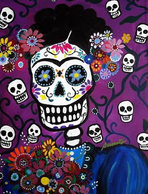 Print featuring the painting Frida Dia De Los Muertos by Pristine Cartera Turkus