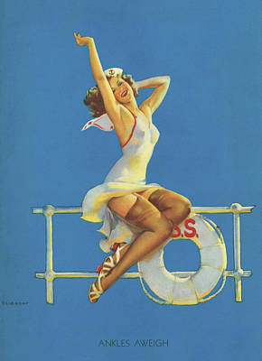 Vintage Pinup Photograph - Gil Elvgren's Pin-up Girl by Underwood Archives