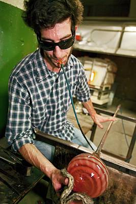 Hand Crafted Photograph - Glass Blowing by Jim West