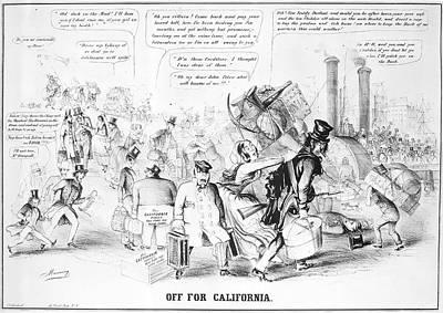 Manifest Destiny Painting - Gold Rush Cartoon, 1849 by Granger