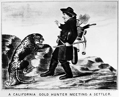 1850s Painting - Gold Rush Cartoon by Granger