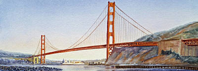 Famous Watercolor Painting - Golden Gate Bridge San Francisco by Irina Sztukowski
