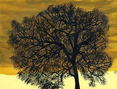 Drawing - Golden Sunset -drawing by D Hackett