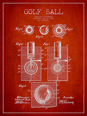 Caddy Drawing - Golf Ball Patent Drawing From 1902 by Aged Pixel