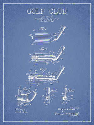 Sports Royalty-Free and Rights-Managed Images - Golf Club Patent Drawing From 1917 by Aged Pixel