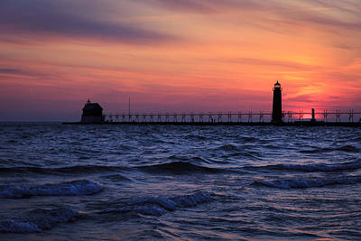 Photograph - Grand Haven Lighthouse Mi At Sunset by Jack R Perry