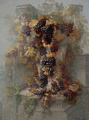 Grapes And Architecture Print by Edwin Deakin