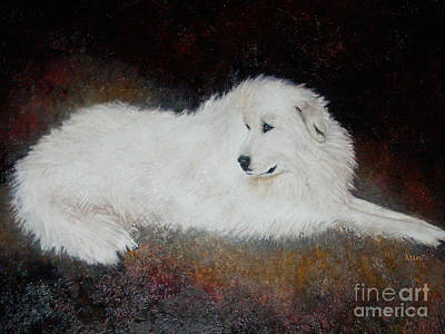 Painting - Great White Pyrenees Dog by Nan Wright