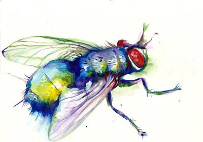 Blau Painting - Green Fly Original Watercolor by Tiberiu Soos