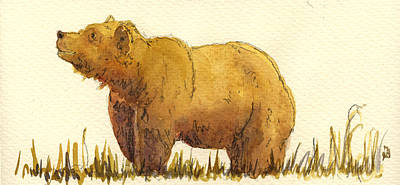 Grizzly Bear Painting - Grizzly Bear by Juan  Bosco