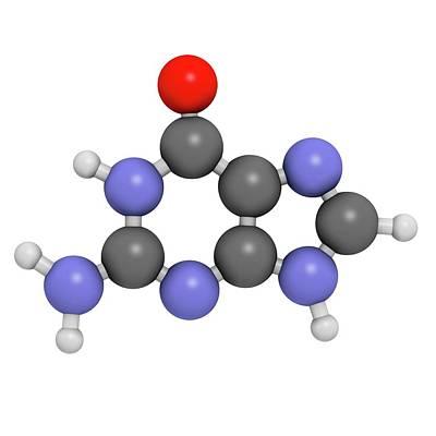 Guanine Purine Nucleobase Molecule Art Print by Molekuul