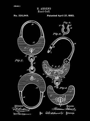 Handcuffs Digital Art - Handcuffs Patent 1880 - Black by Stephen Younts
