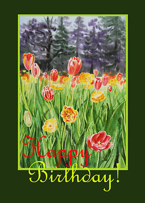 Tulips Watercolor Wall Art - Painting - Happy Birthday  by Irina Sztukowski