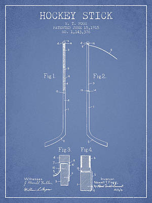 Sports Royalty-Free and Rights-Managed Images - Hockey Stick patent Drawing from 1915 by Aged Pixel