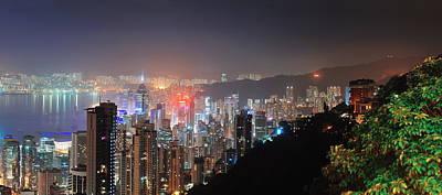 Photograph - Hong Kong At Night by Songquan Deng