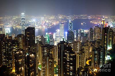 China Photograph - Hong Kong Harbor From Victoria Peak At Night by Matteo Colombo