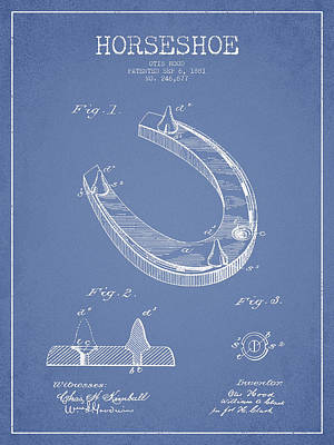 Ranch Digital Art - Horseshoe Patent Drawing From 1881 by Aged Pixel