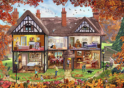 Doll House Painting - 4 House Collection Autumn by Steve Crisp