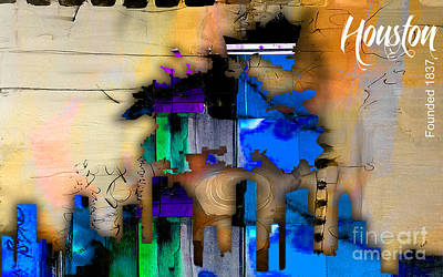 Cities Art Mixed Media - Houston Map And Skyline Watercolor by Marvin Blaine