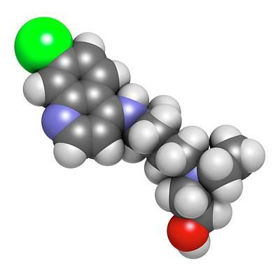 Hydroxychloroquine Malaria Drug Molecule Art Print by Molekuul