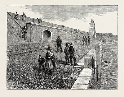 Inauguration Of The Holyhead Breakwater And Harbour Art Print by Welsh School