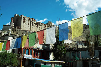 Tibetan Buddhism Photograph - India, Ladakh, Leh, Prayer Flags by Anthony Asael