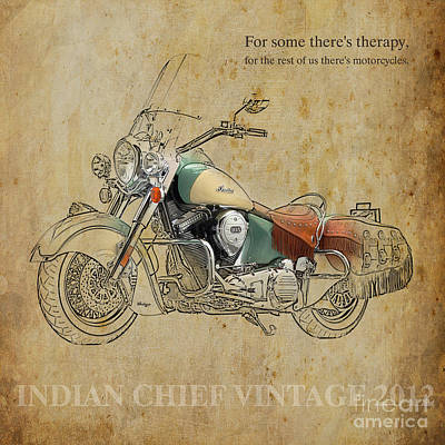 Motorcycle Painting - Indian Chief Vintage 2012 by Pablo Franchi