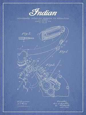 Motorcycle Digital Art - Indian Motorcycle Patent From 1904 - Light Blue by Aged Pixel