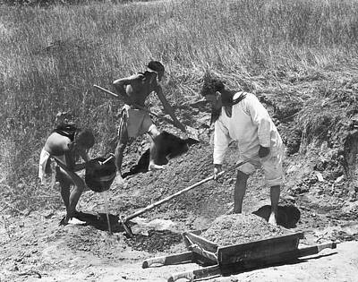 Brick Building Photograph - Indians Making Adobe Bricks by Underwood Archives Onia