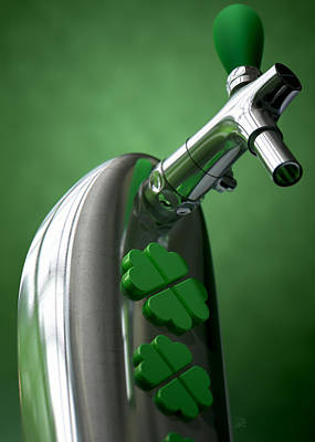 Four Leaf Clover Digital Art - Irish Beer Tap by Allan Swart