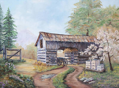 Cades Cove Painting - Barn At Cades Cove by Frances Lewis