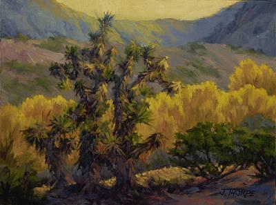 Joshua Trees And Cottonwoods Art Print by Jane Thorpe