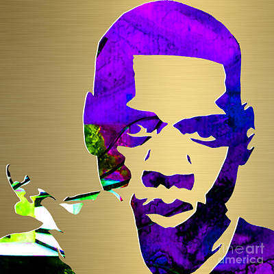 Mixed Media - Jay Z Gold Series by Marvin Blaine