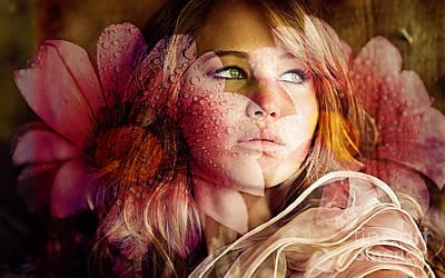Flower Mixed Media - Jennifer Lawrence by Marvin Blaine