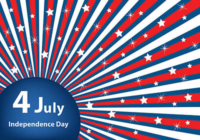 4th July Digital Art - 4 July Independence Day Background by Toots Hallam