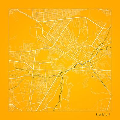 Afghanistan Digital Art - Kabul Street Map - Kabul Afghanistan Road Map Art On Color by Jurq Studio