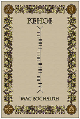 Print featuring the digital art Kehoe Written In Ogham by Ireland Calling