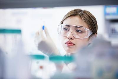 Lab Assistant Wearing Safety Goggles Art Print by Science Photo Library