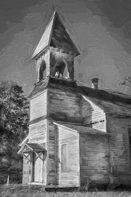 Photograph - Lafayette Baptist Church Lafayette Sussex County Nj Painted Bw  by Rich Franco