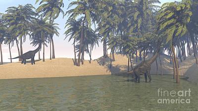 Digital Art - Large Brachiosaurus Grazing by Kostyantyn Ivanyshen