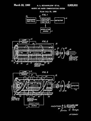 Lithography Digital Art - Laser Patent 1958 - Black by Stephen Younts