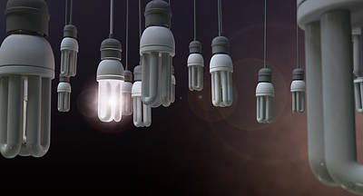 Leadership Hanging Lightbulb Art Print by Allan Swart