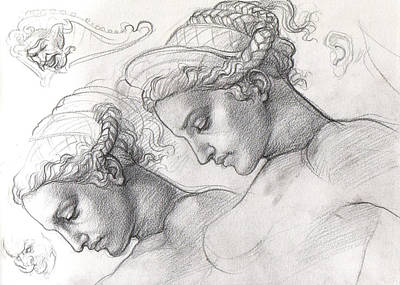 Preparatory Study Drawing - Leda And The Swan  by Dan Ianos