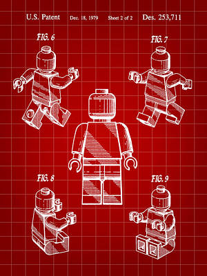 Lego Figure Patent 1979 - Red Art Print